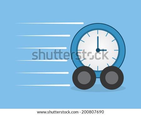 Clock with wheels speeding through  - stock vector
