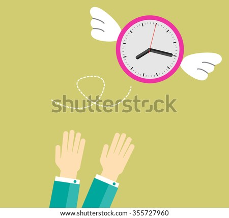 clock with wings fly escape away from a businessman. flat design vector. hand.  - stock vector