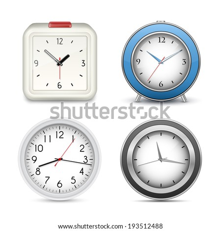 Clocks and alarms collection. Vector illustration - stock vector