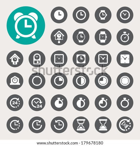 Clocks and time icons set. Illustration eps10  - stock vector
