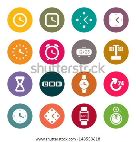 Clocks and time theme icons set - stock vector
