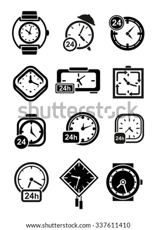 Clocks black icons of wall and table clocks, wristwatches and alarm clocks with 24 hours signs - stock vector