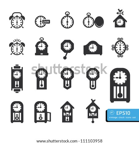 clocks  icon set vector - stock vector