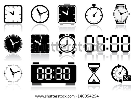 Clocks icon set. Vector illustration of different clock web icons - stock vector