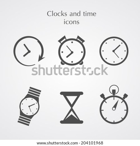 Clocks icons set flat style