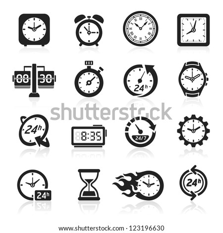 Clocks icons. Vector illustration - stock vector