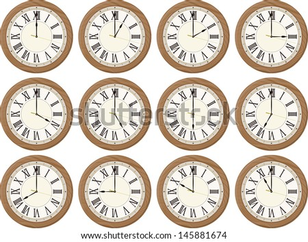 clocks isolated on white background each showing a different time  - stock vector