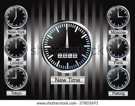 Clocks on wall - stock vector