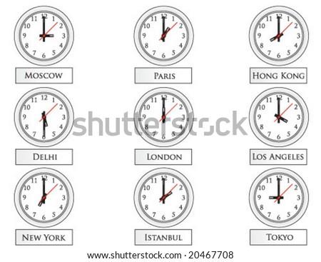 clocks on wall vector - stock vector