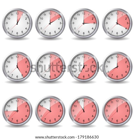 clocks showing different time  - stock vector