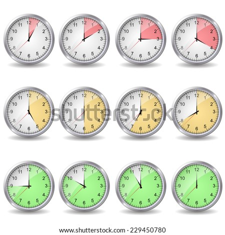 clocks showing different time in traffic light style. vector illustrations - stock vector