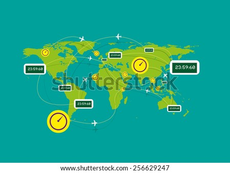 Clocks tick in different continents while Airplanes Flying Over Different time zones could mean flight time, flight delay time, cargo delivery schedule, tracking or more. Flat Illustration eps10.