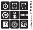 Clocks, time icons set - stock photo