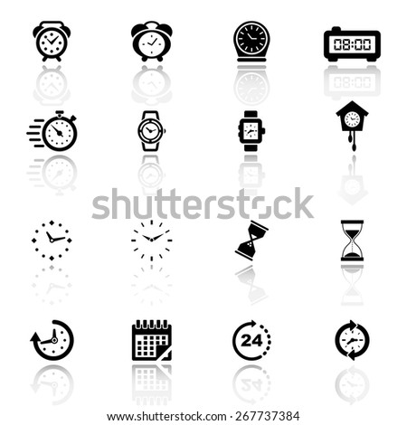 Clocks, time icons set - stock vector