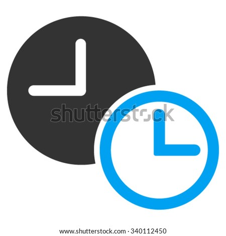 Clocks vector icon. Style is bicolor flat symbol, blue and gray colors, rounded angles, white background.
