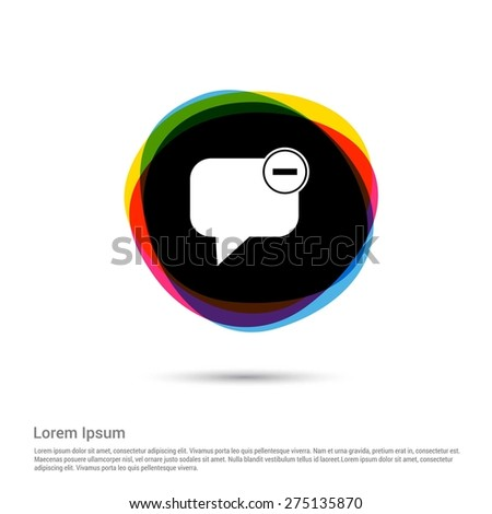 close Chat Window Icon, White pictogram icon creative circle Multicolor background. Vector illustration. Flat icon design style - stock vector