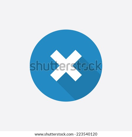 close Flat Blue Simple Icon with long shadow, isolated on white background   - stock vector