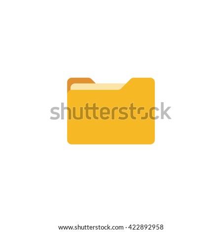 Close folder. Folder with documents. Yellow folder isolated on white background. Flat folder - stock vector