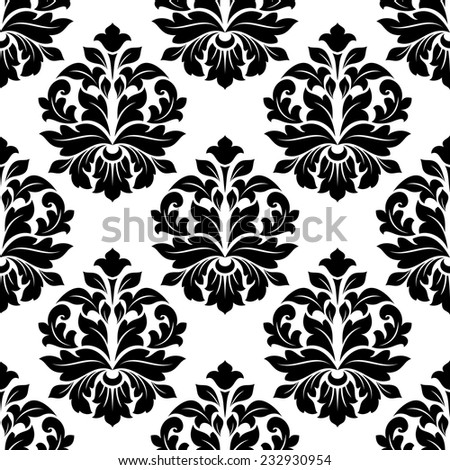 Close up black and white floral damask background pattern, can be used for house interior and textile design - stock vector