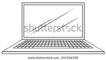 Close up computer notebook with screen