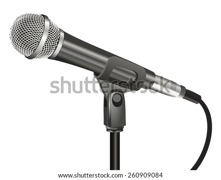 Close up 3d black color microphone with cable and metal mesh, realistic design. Technology object, sound recording equipment concept. vector art image illustration, isolated on white background