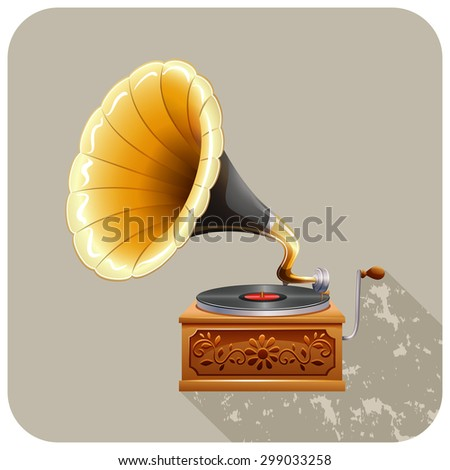 Close up gramophone with recording