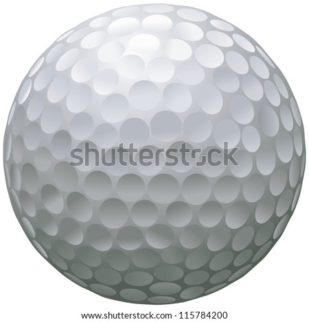 close up illustration of isolated golf ball - stock vector