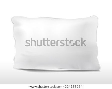 close up look at blank pillow isolated on white background - stock vector