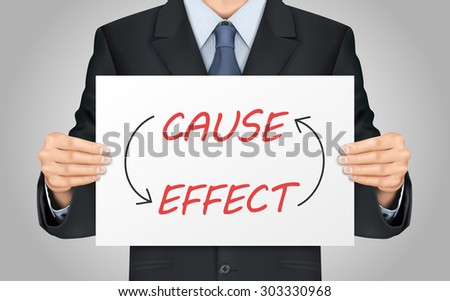 close-up look at businessman holding cause and effect poster - stock vector