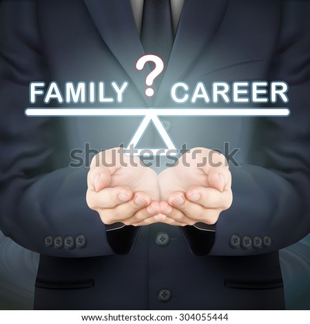 close-up look at businessman holding family and career seesaw - stock vector