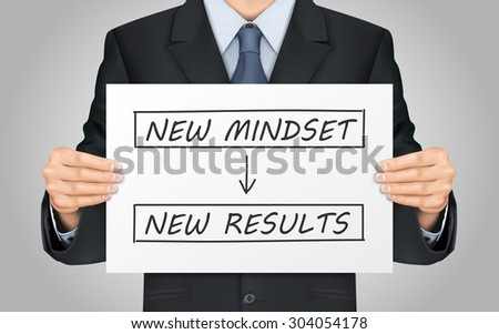 close-up look at businessman holding new mindset make new results poster - stock vector