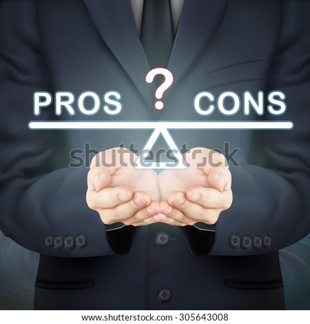 close-up look at businessman holding pros and cons seesaw - stock vector