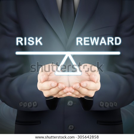 close-up look at businessman holding risk and reward seesaw - stock vector