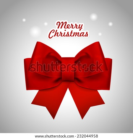 close-up look at Christmas red ribbon over white background - stock vector