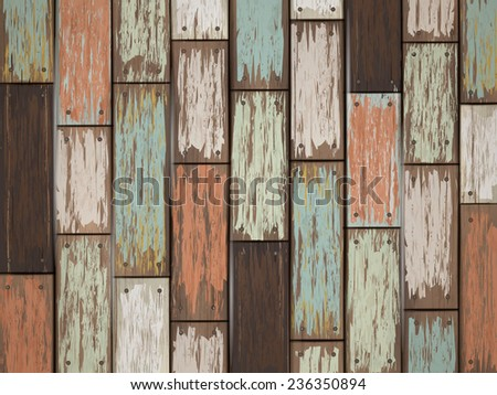 close-up look at colorful retro wooden texture background  - stock vector