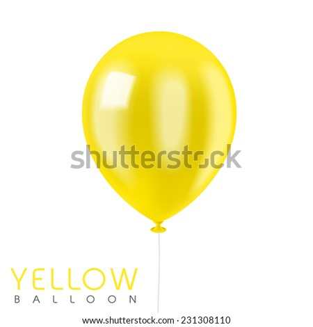 close up look at yellow balloon isolated on white  - stock vector