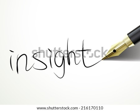 close up look of fountain pen writing insight over document - stock vector
