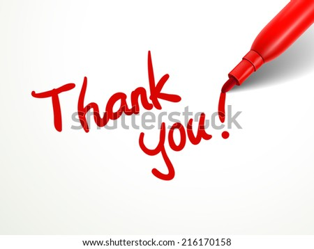 close up look of red pen writing thank you over document - stock vector