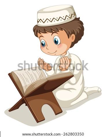 Close up muslim boy praying  - stock vector