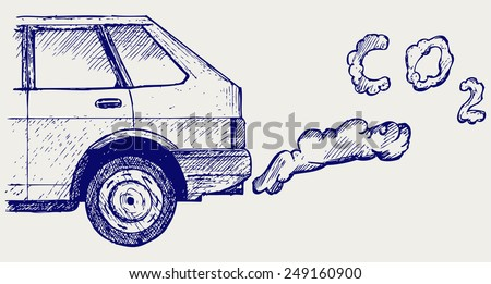 Close up of a car's fumes emissions in the traffic jam. Doodle style - stock vector