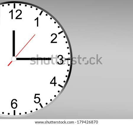 Close up of a clock on background with copy space - stock vector