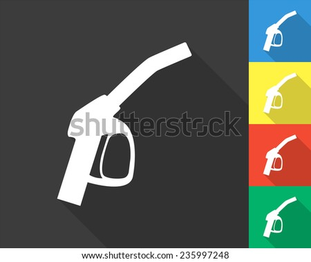 close up of a gas station icon - gray and colored (blue, yellow, red, green) vector illustration with long shadow - stock vector
