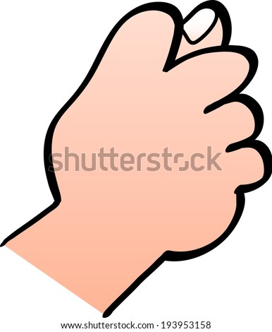 Close up of a male hand making a fig sign gesture with the hand where fingers are curled forming the fist and the thumb goes between the middle and index fingers partly poking out - stock vector