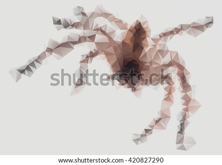 Close-up of Australian Huntsman spider in triangle style - stock vector