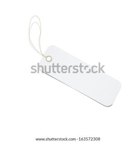 close up of blank price label on white background with clipping path. vector illustration/ - stock vector