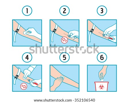 Close up of blood extraction - stock vector
