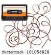 close up of broken vintage audio tape - stock vector