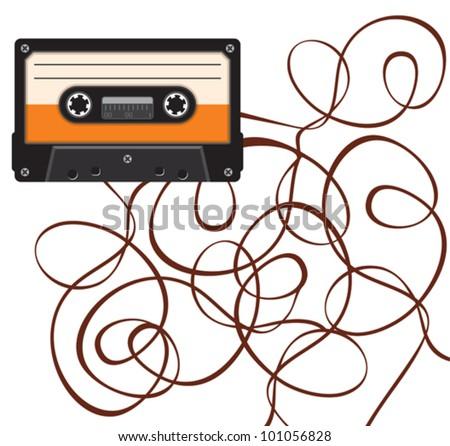 close up of broken vintage audio tape - stock vector