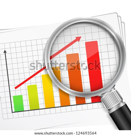 Close-up of magnifying glass and chart, vector eps10 illustration - stock vector