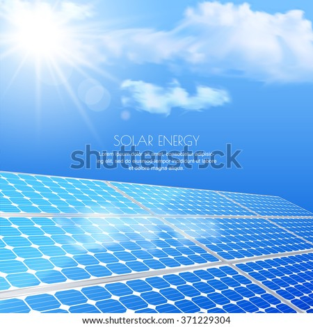 Close up of solar battery, power generation technology. Realistic vector illustration. Alternative energy and environmental business concept. Blue sky with sun light, abstract background.  - stock vector